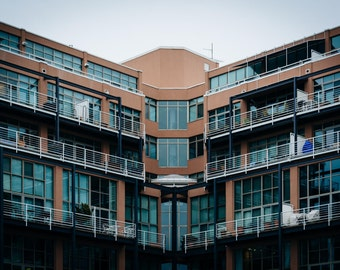 Modern apartment building in Canton, Baltimore, Maryland. | Photo Print, Stretched Canvas, or Metal Print.