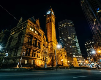 Old City Hall at night, in downtown Toronto, Ontario. | Photo Print, Stretched Canvas, or Metal Print.