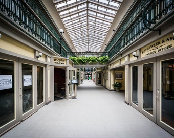The interior of the Arcade, in downtown Providence, Rhode Island. | Photo Print, Stretched Canvas, or Metal Print.