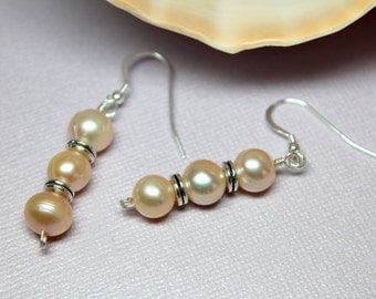Long Pearl Earrings, Freshwater Pearl Dangles, Modern Earrings, Bridal Earrings, Genuine Pearls, June Birthstone