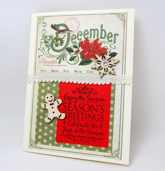 Seasons Greetings - Christmas Card - Vintage Style - Red and Green - Festive Holiday Card - Blank Card - Poinsettia Flower Card - Detailed
