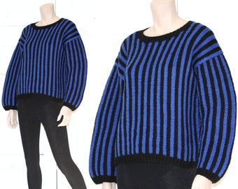 80s striped wool balloon sleeve Esprit sweater - medium or large