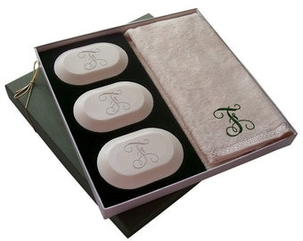 Custom Monogram Soap With Embroidered Hand-towel Boxed Gift Set