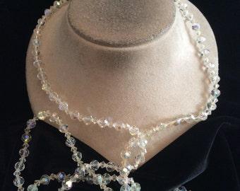 Vintage Long Aurora Borialis Glass Beaded Necklace