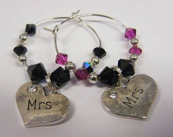 MRS and MRS Wine/Champagne glass Charms