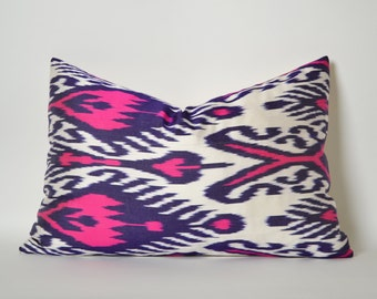 Neon Pink Navy Blue White Silk Ikat Pillow Cover Pink Ikat Pillow Ikat Throw Pillow - Ikat Pillow Cover - Ikat Lumbar Silk Ikat Pillowcase