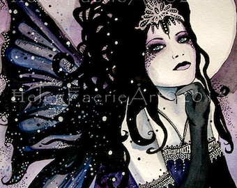 Small Print (5 x 7 inches) 'Mystic Faerie' From my Watercolour painting, faery, Art, Pagan,Gothic, Full Moon