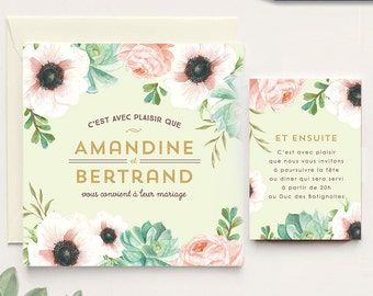 A unique floral and sweet wedding invitation