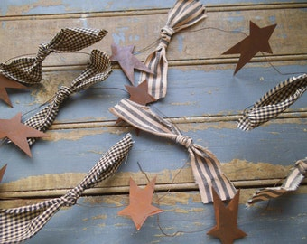 Stars and Bows Garland, Primitive Star, Rustic Garland, Rusty Stars, Primitive Garland, Rustic Decor, Prim Tree Garland, Primitive  Decor