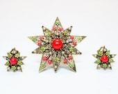 Art-Mode Corp. Vintage Pin & Clip On Earrings -- Mid Century Modern Costume Jewelry - Starburst Brooch