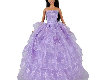 Handmade Dolls Clothes Purple Wedding Dress Party Gown Outfit For Barbie Dolls