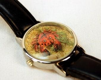Tiny Crab on Beach Watch Terrarium Repurpose Bracelet OOAK