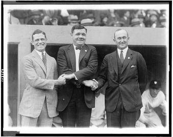 George Sisler, Babe Ruth and Ty Cobb, New York World Series, 1924, 1920's, Photo Print