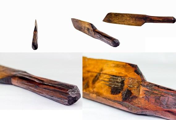 Old basket weaving tools : Antique wooden weaving knife primitive wood loom weave