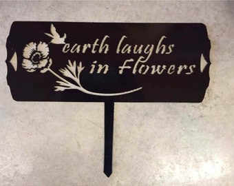 Beautiful, whimsical, metal garden sign