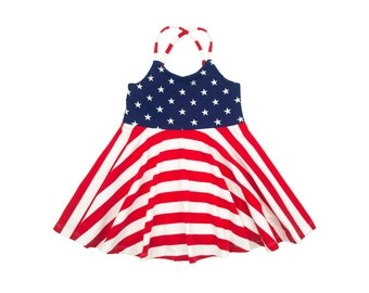 Festival Dress, Girls Dress, Baby Dress, Toddler Dress, Stars and Stripes 4th of July Fourth Memorial Day Veterans Day Military Homecoming