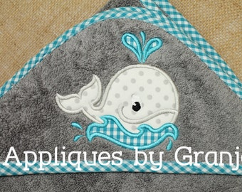 Personalized Appliqued Hooded Baby Bath Towel With Whale