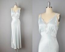 30s Nightgown // 1930s Yolande Baby Blue Silk Slip Dress // Small-Medium