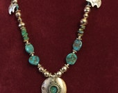 Choctaw Native 925 Turquoise & Brother Bear Necklace Wise BeadMaker Woman USA
