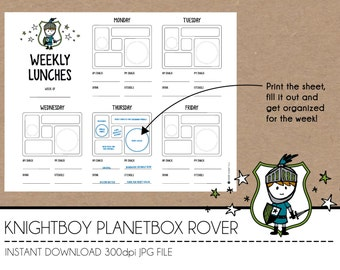 Instant Download Lunch Planner - KnightBoy PlanetBox Rover