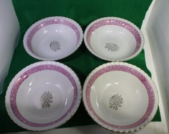 "Vintage Trimont Ware Silver Flower -1950 Japan - Set of (4) - 8"" Diameter - China Serving Bowls"