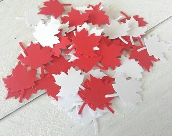 50 Red and White Maple Leaves-Canada Day Confetti-Scrapbooking-Gift Wrapping-Embellishments-Party-Cards-Die Cuts-Punches