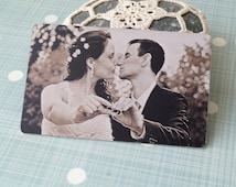 Wallet insert card, real photo engraved wallet card, custom wallet insert, your picture engraved on one side and message on the back