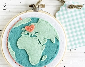 Globe Love Hoop Art - Felt and Hand Embroidery - Nursery Decor - Baby Shower Gift - Travel Enthusiast - Adventure Awaits - Customizable Art