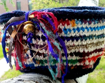 Handmade Navy Blue Wool Alpaca Crochet Basket With Multi-Colored Recycled Silk Sari Fabric Stripes, Vintage Greek Beads and Fringe Detail