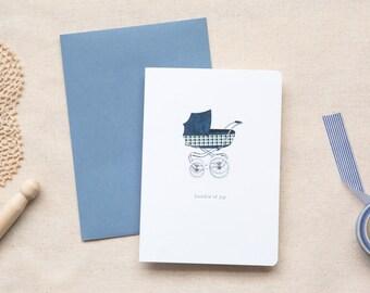 Newborn Baby Boy Card  |  Vintage Pram in Blue