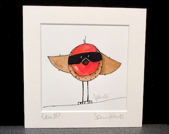 Robin.  An Original watercolour and ink painting by Suzanne Patterson....Kerpow!!!!