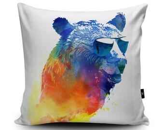 Bear Pillow, Bear Cushion, Cool Bear Pillow Case, Bear Cushion Cover, Grizzly Bear by Robert Farkas, 45cm/60cm, Faux Suede Cushion