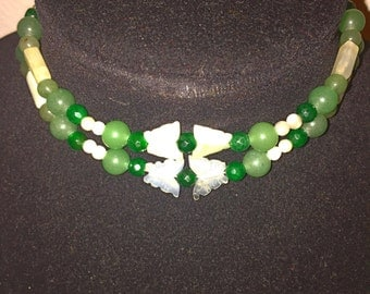 Jade Choker*Custom Jewelry*Something Exquisite*Shades of Green Choker*Butterfly Jewelry*Gypsy Jewelry*Date Night Statement Piece*Fashionable