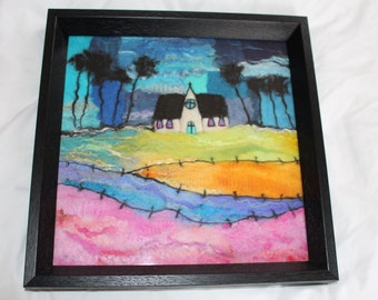"Needle felted/Wet felted picture framed in black wooden frame ""Field of dreams"""