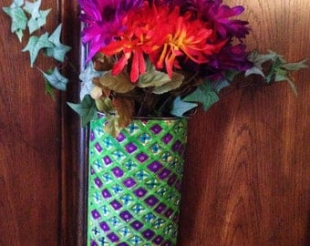 "Greet Your Guests With A Hand Painted Green, Blues, Purple and Yellow Metal Flower Bucket  5""Wx14""Hx3""D  X0058"