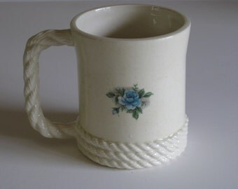 Vintage Mt St Helens ash mug/coffee cup handmade from volcanic ash with braiding and rose decal