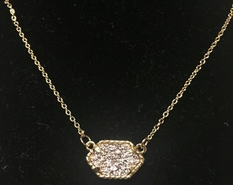 Drusy Rose Necklace in Gold