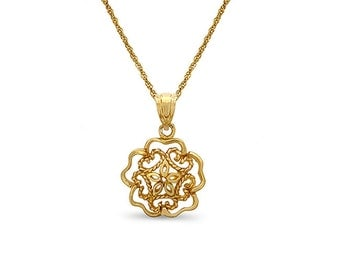 "14k solid gold flower motif pendant on an 18"" 14k solid gold chain. floral jewelry"