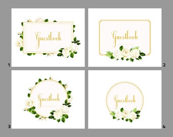 Upgrade: Guestbook sign on the table Ivory Flowers