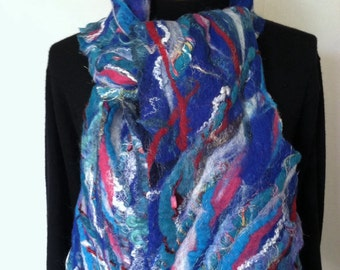 Wool scarf, hand made felted scarf, nuno felted, red white and blue scarf
