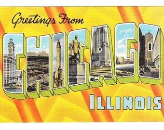 Greetings from Chicago Illinois Vintage Postcard (unused)