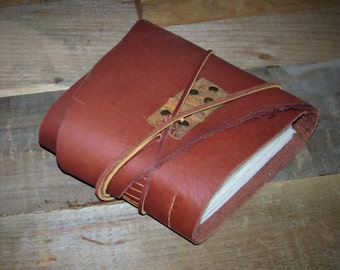 """Father's Day Gift - Handmade Leather Bound Journal, Photo Album, Square Blank Book, Guest Book, Sketchbook  6 """" x 6"""""""