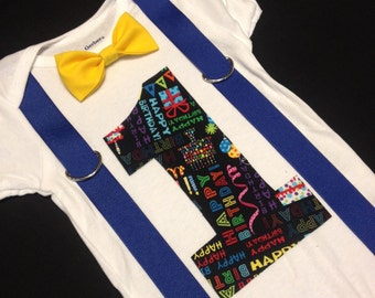 Baby's first birthday outfit (bow tie and suspenders)