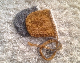 This 2 PACK Newborn knit round back striped bonnet,photo prop,gift,home coming,angora wool biend,boy,girl,ready to ship