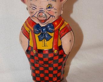 Vintage Wind-up Chein Toy Pig