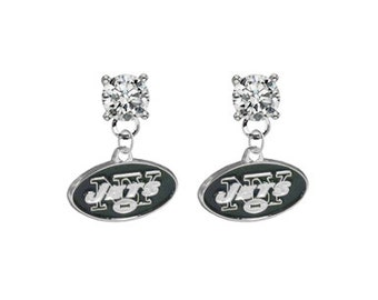 New York Jets Crystal Post Stud Dangle Earrings (Pick Your Colors - Mix or Match Team Colors) Football