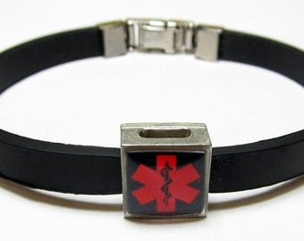 Red And Black Diabetic Medical Alert Link With Choice Of Colored Band Charm Bracelet