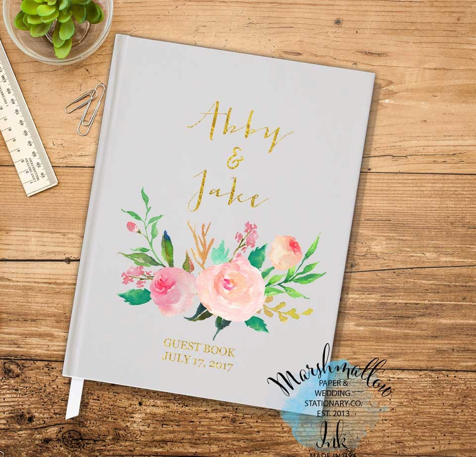 Wedding Guest Book - Wedding Gift Gray Guestbook Floral Guest Book Custom Guestbook, Wedding Journal Faux Gold Guest book Bridal Shower Gift
