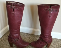 Vintage 1980's ZODIAC Burgundy Leather Tall Campus Boho Boots/Cowgirl Boots/Wood Stacked heel Boots Size 5 size 5.5 Size 6