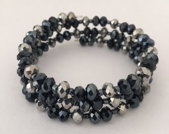 Navy and Silver Crystal Memory Wire Bracelet